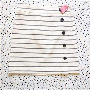 Ann Taylor Striped A-Line Side Button Skirt Size 2